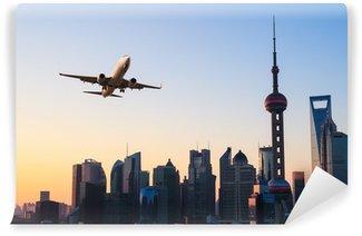 Vinylová Fototapeta Moderní město panorama s letadlem