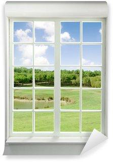 Vinylová Fototapeta Moderní rezidenční okno s výhledem na jezero