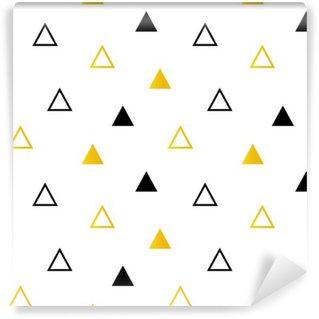 Fototapeta Winylowa Modne czarne i złote trójkąty na białym bezszwowe tło wzór.