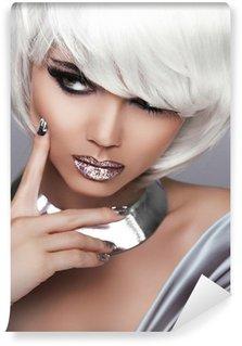 Vinylová Fototapeta Módní Blond Girl. Krása portrét ženy. Bílé krátké vlasy. Sex
