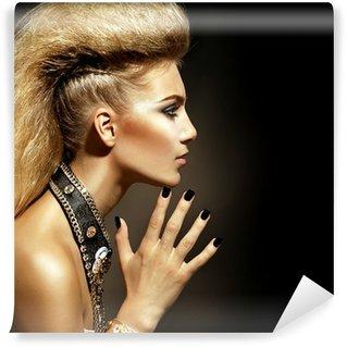 Vinylová Fototapeta Módní Rocker Styl Model dívka portrét. Účes