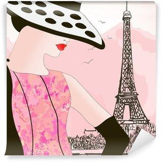 Vinylová Fototapeta Módní žena v Paříži