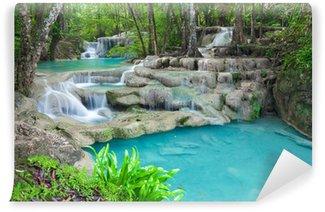 Vinylová Fototapeta Modrá voda v potoce v Erawan národním parku vodopád Thajsku