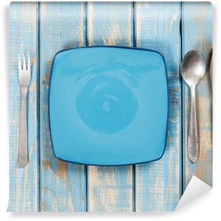 Vinylová Fototapeta Modré prázdné talíře