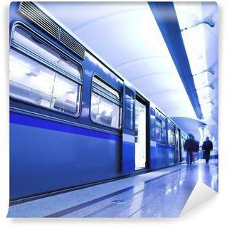Vinylová Fototapeta Modrý rychlík pobyt v hale platforma