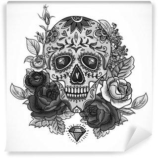 Vinylová Fototapeta Monochromatický Skull, diamant a květiny karty