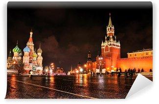 Vinylová Fototapeta Moskevský Kreml a Rudé náměstí v noci.