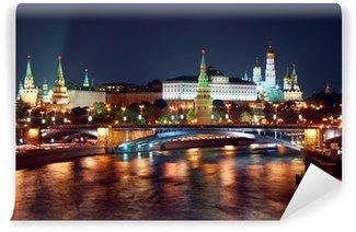 Vinylová Fototapeta Moskva Cremlin noční pohled panorama