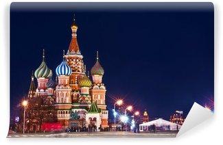 Vinylová Fototapeta Moskva St Basil je katedrála Night Shot