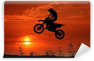Vinylová Fototapeta Motocross im Sonnenuntergang