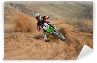 Vinylová Fototapeta Motocross rider se silným sklonem stáčí ostře