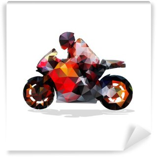 Fototapeta Winylowa Motocykl, abstrakcyjne geometryczne wektor sylwetka. przejażdżki motocyklowe