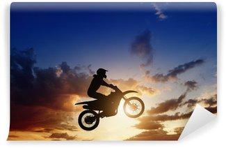 Vinylová Fototapeta Motorcircle jezdec silueta