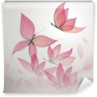 Fototapeta Vinylowa Motyl jak kwiat / surrealistycznej tle kwiatów