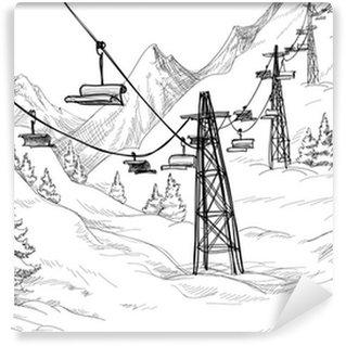 Vinylová Fototapeta Mountain lyžařský vlek židle kresba tužkou