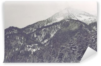 Vinylová Fototapeta Mraky se pohybuje přes vzdálený vrchol hory
