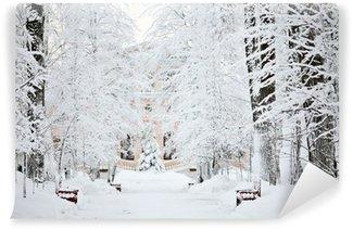 Fototapeta Winylowa Mroźna zima śnieg krajobraz lasu