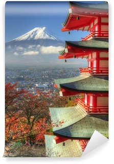 Vinylová Fototapeta Mt. Fuji a Autumn Leaves u svatyně Arakura Sengen v Japonsku