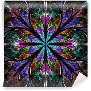 Vinylová Fototapeta Multicolor krásný fraktální Okno z barevného skla stylu. Comp