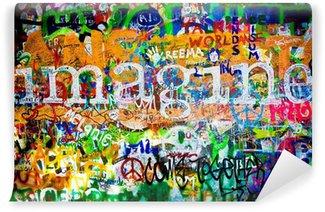 Fototapeta Winylowa Muro de John Lennon (Praga) - wyobraź sobie (toma 1)