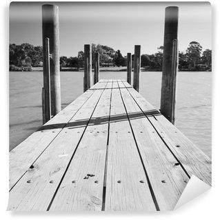 Vinylová Fototapeta Murray River Jetty Black and White