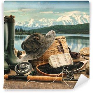 Vinylová Fototapeta Muškaření zařízení na palubě s výhledem na jezero a hory