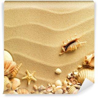 Vinylová Fototapeta Mušle s pískem jako pozadí