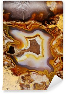 Fototapeta Winylowa Naturalny brązowy agat z kryształami