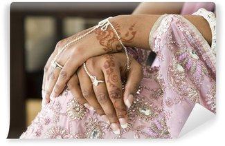 Vinylová Fototapeta Nevěsta ruka s Henna tetování a bižuterie, indická svatba