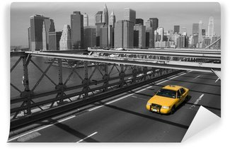 Vinylová Fototapeta New York - Brooklyn Bridge e taxi giallo