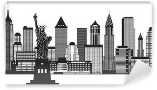 Fototapeta Winylowa New York City Skyline czarno-białych ilustracji wektorowych