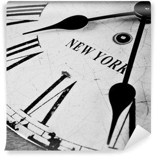 Vinylová Fototapeta New York hodiny city černá a bílá