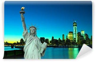 Vinylová Fototapeta New York panorama a Socha Svobody, New York, USA