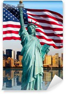 Vinylová Fototapeta New York panorama, socha de la liberté