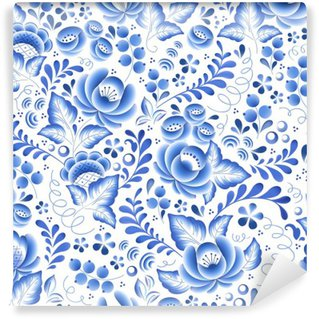Fototapeta Winylowa Niebieskie kwiaty rosyjski porcelany ozdoba piękna ludowej.