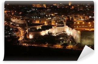Vinylová Fototapeta Noc v jeruzalémské staré město, Chrámová hora s Al-Aqsa mešita, v.