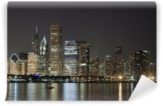 Vinylová Fototapeta Noční pohled na Downtown Chicago