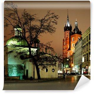 Vinylová Fototapeta Noční pohled na náměstí v Krakově, Polsko