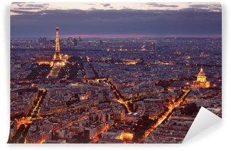 Vinylová Fototapeta Noční pohled na Paříž.