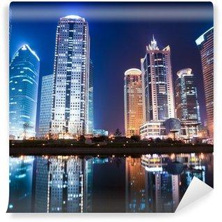 Vinylová Fototapeta Noční pohled na Šanghaj finanční centrum čtvrti