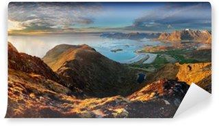 Vinylová Fototapeta Norsko krajina panorama s oceán a hory - Lofoten