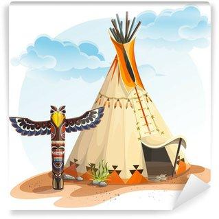 Vinylová Fototapeta North American Indian týpí domů s totemem