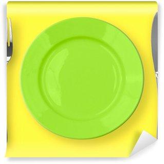 Vinylová Fototapeta Nůž, zelená deska a vidlice na žlutém pozadí