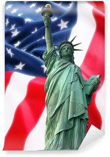 Vinylová Fototapeta NY Socha Svobody proti vlajka USA