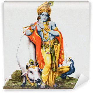 Vinylová Fototapeta Obrázek hinduistického boha Krišny s krávou, páv, flétnu