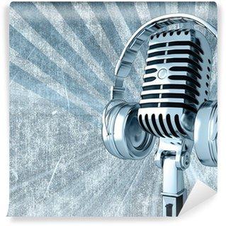 Vinylová Fototapeta Obrázek retro mikrofon se sluchátky na uších