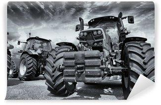 Vinylová Fototapeta Obří zemědělské traktory a pneumatiky
