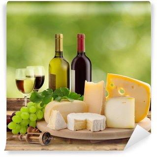 Vinylová Fototapeta Ochutnávky vína a sýrů v přírodě