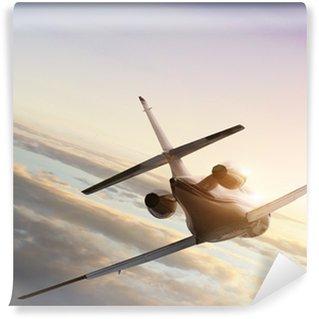 Fototapeta Winylowa Odrzutowy samolot na lot do zachodu słońca