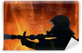 Vinylová Fototapeta Oheň ničí hasiče